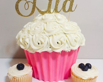 Personalized Name cake topper, cupcake topper, gold cake topper