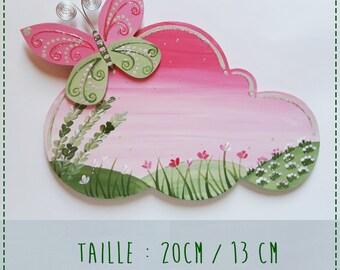 door plaque name Butterfly wooden, handpainted, customize