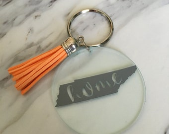 """Tennessee """"home"""" keychain with tassel"""