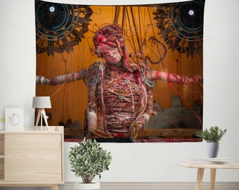 Steampunk Wall Tapestry, Horror Movie Decor, Woman Tapestry,  Steampunk Decor, Gothic Wall Hanging, Weird Decor, Burnt Orange Tapestry