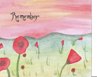Remembrance, Poppy , Poppies, Water colour, Artwork