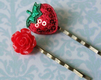 Bright Red Bobby Pins Set- Hair Accessories- Red Rose and Sparkly Strawberry Bobby Pins- Set of Two