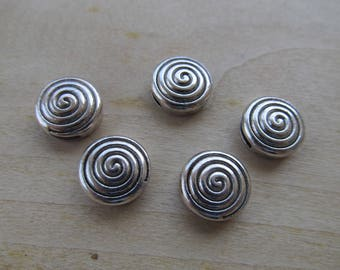 Pearl from Tibetan antique round shape 14 x 6 mm silver color metal.