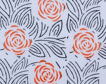 Hand Block Rose print,Red and  Black Color , 1 Yard