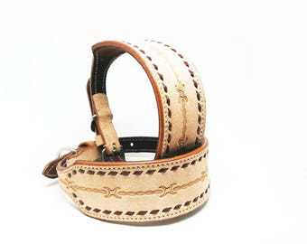 """2"""" Wide Barbwire Tooled MadcoW Western Styled Nubuck Suede Leather Buck Stitched K9 Dog Collar Hand Made Fully Adjustable"""