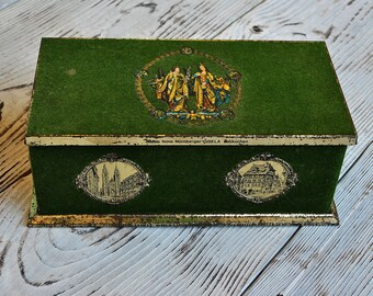 Beautiful Large Vintage Tin Box with Green Felt Velvet Covered of 50s