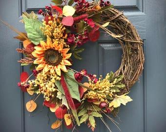 Fall Wreaths, Sunflower Wreath, Fall Door Wreath, Front Door Wreaths, Sunflower Decor, Fall Wreaths for Door, Fall Decorating, Housewarming