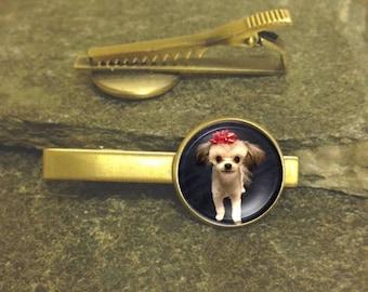 Pet Tie Clip, Photo tie clip, Custom Photo Tie Clip, Gold or Silver Tie Clip, Personalized Tie Bar