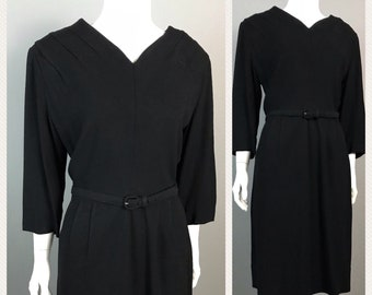 Vintage Late 1940s Designer Black Rayon Belted Dress Three Quarter Sleeves / Women's Large / Late 40s Pinup Rockabilly Fitted Party Dress