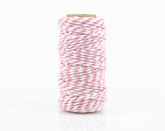 PINK BAKERS TWINE - Light Pink & White Two-tone Twisted Cotton String / Bakers Twine (20 meter spool)