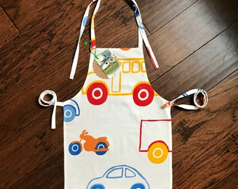 kids car apron, toddler apron