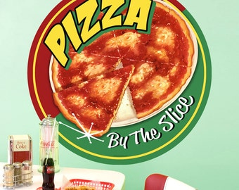 Pizza by the Slice Round Restaurant Wall Decal - #71280