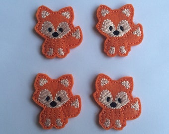 Orange Fox Animals Embroidered Felt Applique