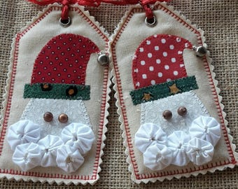 Handmade Fabric Father Christmas Santa Tag Yo Yo Suffolk Puff Applique Bell Label