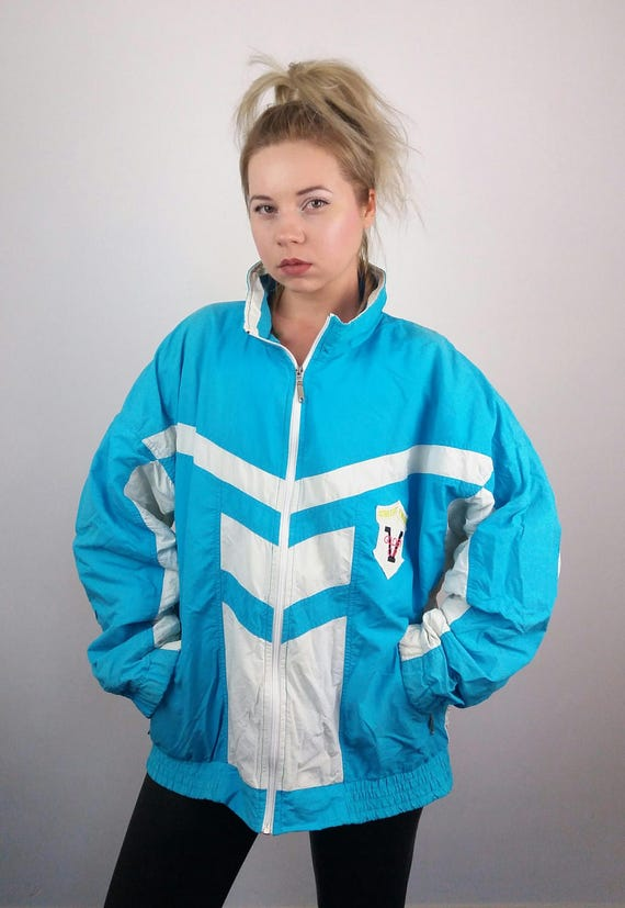 BOAST Vintage 90's Unisex Shell Tennis Jacket / Windbreaker with Mickey Mouse Cartoon Patch GGK8Qa