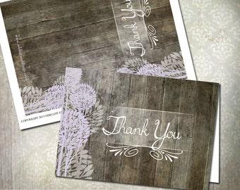 Rustic Wood Thank You Card, Lilac Purple Trees, Digital Printable thank you card, DIY Greeting Card, Wedding Thank You, Blank Thank You