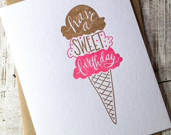 Sweet Birthday Letterpress Card