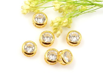 Gold Slide Charm, 8mm, Round CZ Charm, Cubic Zirconia Pendant, Tarnish Resist Gold Charm, 2.1mm Hole