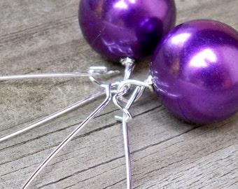 Chunky Purple Earrings Long Purple Earrings Large Purple Earrings Purple Pearl Earrings 16mm Metallic Purple Faux Pearl Earrings Purple