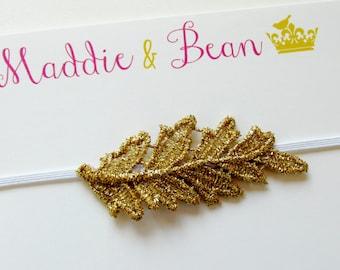 Gold Headband, Gold Leaf Headband, Baby Headband, Boho Baby Headband, Baby Girl Headband, Newborn Headband, Baby Headband Gold, Gold Leaf