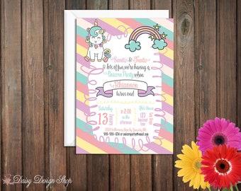 Birthday Party Invitations - Unicorn and Rainbow Stripes - Set of 20 with Envelopes