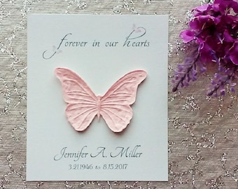 25 Seeded Butterfly Memorial Cards - forever in our hearts - butterflies on letters