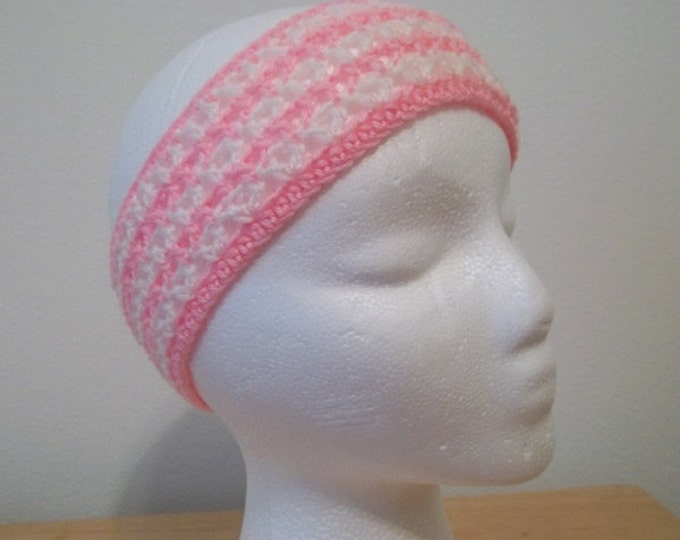 Headband - Crochet Headband in Pink and White - Great for Winter