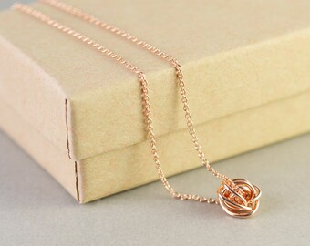 Rose Gold Knot Necklace, Knot Jewelry, Love Knot, Everyday Necklace, Bridesmaid Gift, Tie The Knot