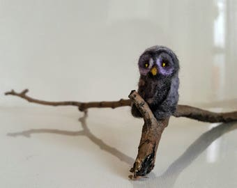 Micro owl....Felt toy Handmade Doll Soft Sculpture OOAK Needle Felted Wool Animals New... I will make this item for your order