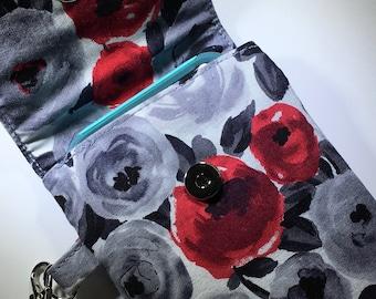 Red Roses Phone Wallet Wristlet Gift for Her Under 30 Lined Handbag Travel Zipper Pocket Gifts for Teens Girls Stocking Stuffer