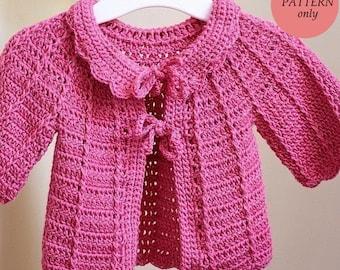 Crochet PATTERN - Candy Pink Baby Cardigan