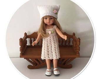 Dress and bonnet white doll Paola Reina