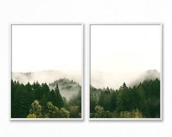 Forest Photography Printable, 2 Piece Woodland Print, Landscape 2 Piece Print, Green, Fog, Mist, Misty Forest Print, 2 Piece Forest Print
