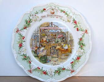 Brambly Hedge The Discovery plate, Royal Doulton, designed by Jill Barklem, made in England 1985