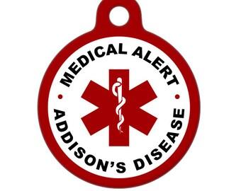 Pet ID Tag - Medical Alert, Addisons Disease Medical ID Tag - Medical Alert Tag, Pet Tag, Child ID Tag, Dog Tag, Cat Tag