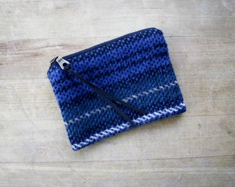 Wool Wallet / Coinpurse / Zipper Pouch in Blue and Green Plaid /  Plaid Wallet / Wool Coinpurse