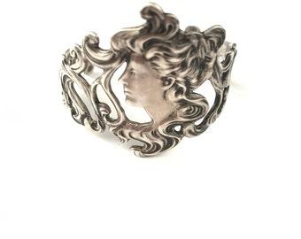 Gorgeous Vintage Sterling Art Nouveau Maiden Cuff Bracelet