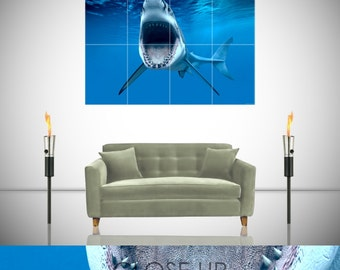 Great White Shark Open Jaws Ocean Sea Giant Poster in 8 or 4 Pieces Wall Art Print