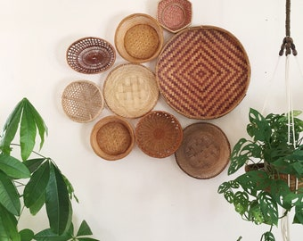 Wall Basket Decor Set of 9 : Large Statement Bohemian Baskets