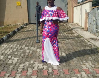 Ankara and dotted net gown