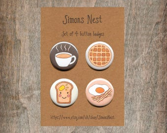 "Breakfast Badge Set - Pack Of 4 Brunch 25mm 1"" Button Pin Badges - Coffee Cup - Waffle - Buttered Toast - Egg And Bacon - Cute Food Gift"