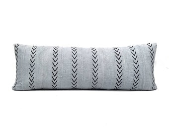 "Mudcloth pillow cover, 14""×36"" gray bed pillow, african mudcloth pillow, extra long lumbar pillow, mudcloth"