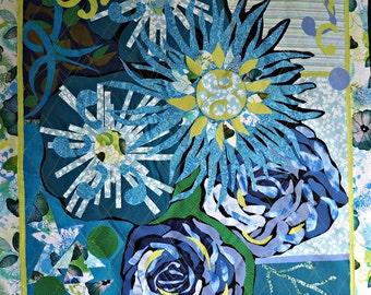 Quilted Wall Hanging, Fabric Art, Art Quilt, Textile Art, Fibre Arts, Moonlight Garden