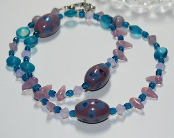 Ceramic Lilac & Blue Oval Focal Beads with Violet Oval Swarovski Bicone Handmade Necklace
