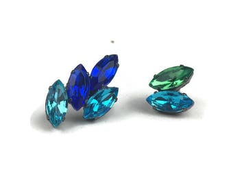 blue cluster crystal earrings blue bridal earrings crawler earrings silver blue crystal stud earrings mismatched earrings stud asymmetrical