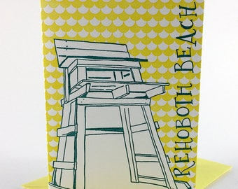 Rehoboth Beach Delaware Letterpress Card   Lifeguard Stand   turquoise & yellow single blank card with envelope