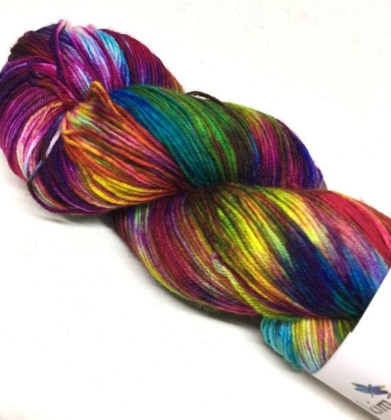 Hand Dyed Superwash Merino Blend Sock Yarn_Hippie Chick