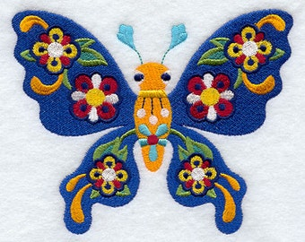 Mariposa Butterfly Mexican Culture Embroidered Flour Sack Hand Towel