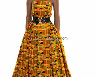 Traditional Kente cloth fabric sold per yard/ Orange Kente/ African fabric/ Kente Cloth/ Kente Prints/   KF58B