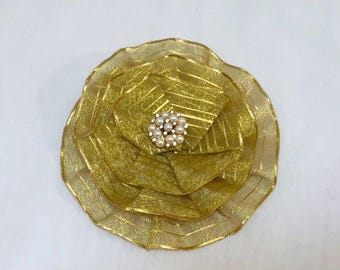 Fancy Metallic Gold Yarmulke, Gold Jewish Head Covering, Women's Gold Kippah